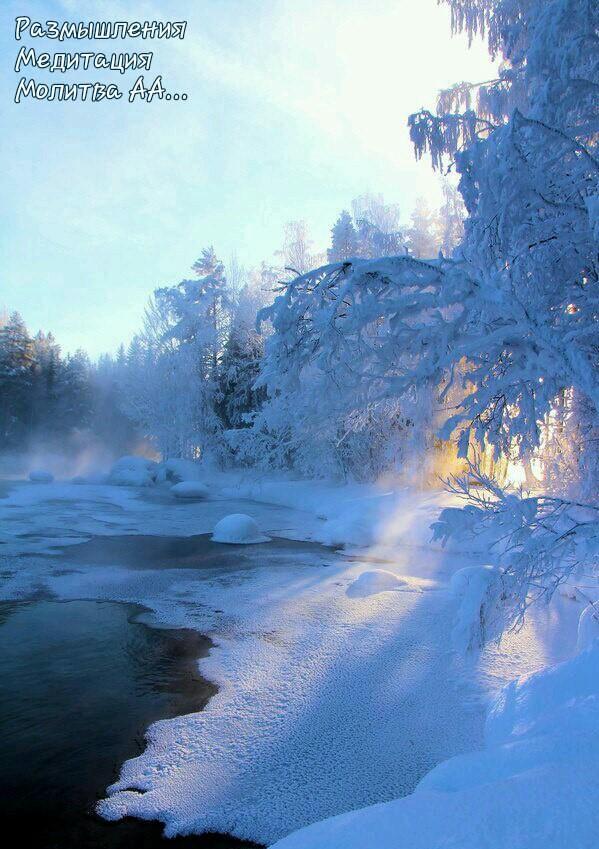 дорога, деревья в снегу, молитвы размышления ежедневные аа